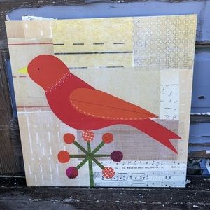 Red Bird Wall Art Canvas Square Wooden Frame